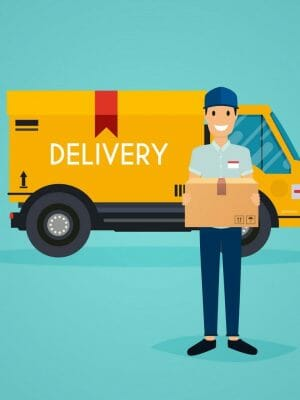 delivery man and track flat design modern vector 14145126